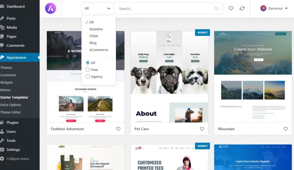 Create a website with free theme