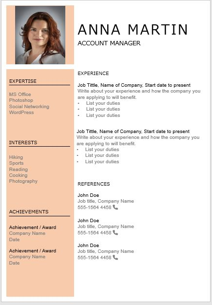Orange Resume Page 2