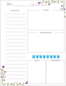 Purple flower daily planner Printable