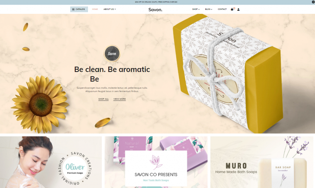 Savon -Feminine WordPress Organic Shop Theme
